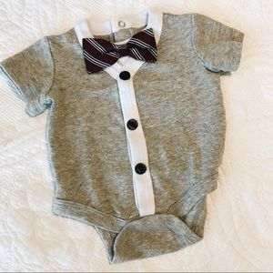 Other - Gray Button Up Sweater Onesie with Bow Tie